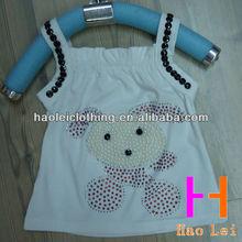 kids clothes kids tops pearl/rhinestone cute cartoon girls vest
