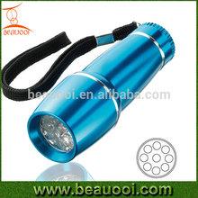 Promotion Sell!!AAA battery Aluminum 9LED led aluminum flashlight