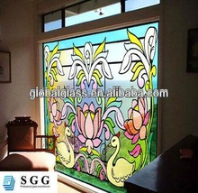 High quality stain toughened glass window with ISO CCC CE