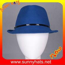 Fashion new style wool felt blue hat fedora with high quality