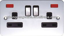 Metal Material Electrical Switch And Sockets Double 3 Pin Socket With Light Made In China