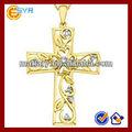 stainelss aço chapeamento de ouro cruzes pingentes conjunto com czs