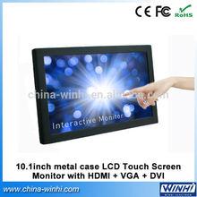 10.1 inch LCD multi touch screen HDMI VGA DVI monitor digital media player for advertising