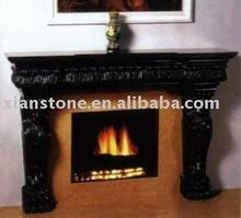 Black polished marble fireplace