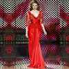 Amazing Bodycon Long Sleeves Chiffon Red Lace Formal Zuhair Murad Evening Dresses