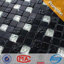 JTC-1320 Dark color wall mosaic black stone mixed silver glass tiles materials blending mosaic sheet