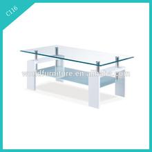 high gloss two tiers glass coffee table