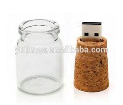 High quality free sample low price wholesale glass jar usb 2.0 flash drive