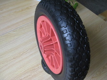14 inches 3.50-8 solid pu foam rubber wheel ,green wheel ,Material handling equipment parts