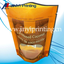 Laminated plastic stand up bag with zip lock/zipper bag for nuts