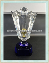 Hot Sale! Five Stars K9 Crystal Trophy for Souvenir & Awards(BS-TR023)