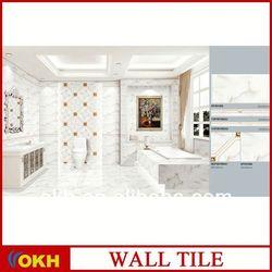 Bright white embossed ceramic wall tile