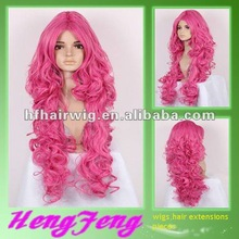 Synthetic cosplay wig pink cosplay curly long wigs synthetic cosplay pink curly wigs