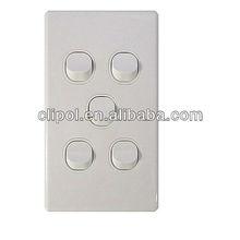 Five Gang 250V 15A Domestic Light Switch