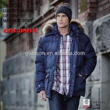 2015 Handsome Men Winter Outerwear Plush Goose Down Coat With Raccoon Fur