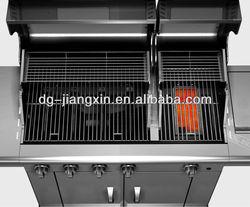 Split lid SS gas bbq grill with side burner