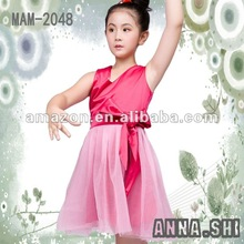 2012 ANNA SHI NEW DESIGN pink girls party dress for children with bow