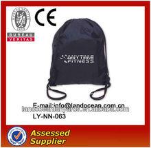 Custom nylon drawstring bag/Black shopping bag