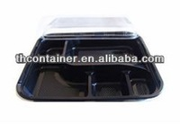 degradable plastic lunch box with four compartments with a lid