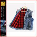 A cuadros tachonado de mezclilla jean chaqueta chaleco( gyw0015)