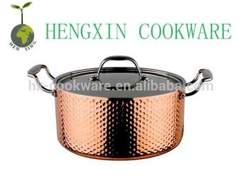 copper tri-ply hammered casserol pot