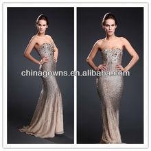 One shoulder Strapless Evening Sequins Beaded Dresses