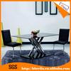 X Shape high gloss black tempered glass table