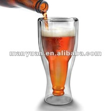 CT-115 Creative Upside Down Beer Bottle Double Wall Glass Beer Mugs (Creative item: flipped double layer beer mug)