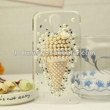 Hot Selling Fancy Rose Icecream design Diamond Bling Pearls mobile phone case for S4 9500