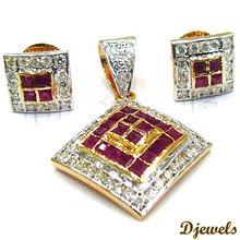 Diamond Ruby Pendant Sets, Diamond Jewelry, Bridal Pendant Sets