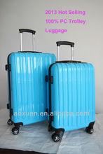 travel luggage/2014 Hot selling 100% PC trolley luggage/polycarbonate trolley luggage