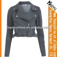 Denim jacket women cheap jacket leather for motorcycle (HYWJ210)