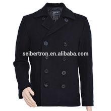 Seibertron USN Wool Pea Coat Men's Winter military wool jacket coat Navy pea Coat
