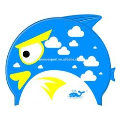 kids/children fish shape swimming hat,kids caps,flag swim cap(CAP-1500)