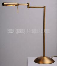 Polished brass adjustable balance arm reading table lamp