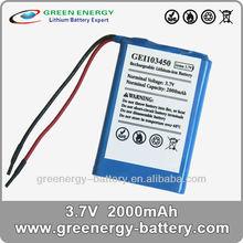 GEI103450 prismatic battery cells shenzhen recycling batteries 2000mah