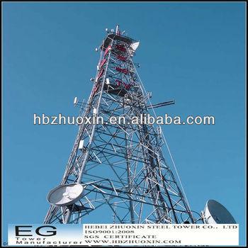 Hot dip galvanized steel microwave communication tower