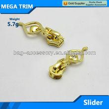5.7g Fashion nice-looking light gold zipper slider for bag