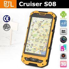 IP67 Rugged Waterproof Android phone Cruiser S08 Android 4.2 GSM+3G Dual core GPS waterproof watch phone dual sim