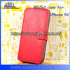 A&T wallet stand pu mobile phone cover for iphone 5c