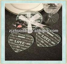 Love Glass Heart Shape Heat Pad Wedding Coaster Frame Coaster