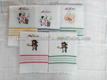 cotton white embroidered tea towel