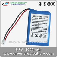 power tool li-ion battery GEI553450 3.7v 1000mAh auto rechargeable battery