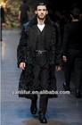 2014 fashion design natural black men long coat,Lamb fur coat with wool fur collar