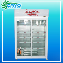 650L two glass sliding door vertical commercial display european manufacturers style cfc free refrigerator