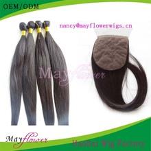 virgin peruvian straight hair bundles plus closure natural color silk base closures