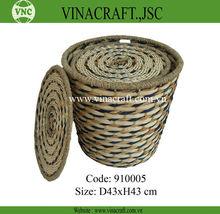 Decorativa de bambú y de agua hytacinth cesto con tapa