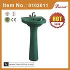 "17""coloured bathroom SINK!ceramic pedestal basin dark green"