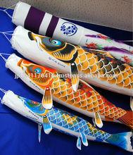 Japanese-made hand-dyed koinobori, traditional carp-shaped streamers
