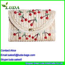 Cherry embroidery fashion clutch straw bag